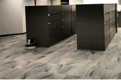 Telecommunication Company Headquarters file cabinet room finished general contracting project by The Blue River Group
