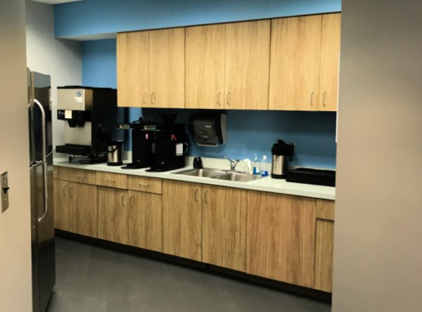 Telecommunication Company Headquarters kitchenette a general contracting project by The Blue River Group