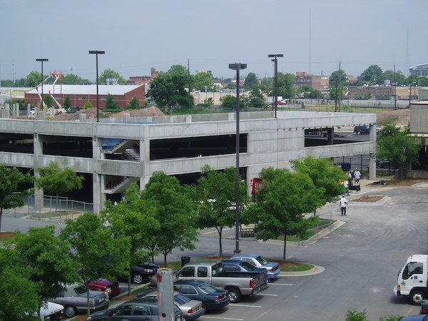 Side view of Northyards Parking Deck built by The Blue River Group design-build contractors
