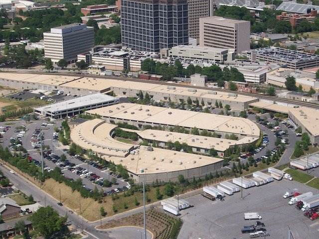 Northyards Parking Deck aerial view of the project after completion by The Blue River Group